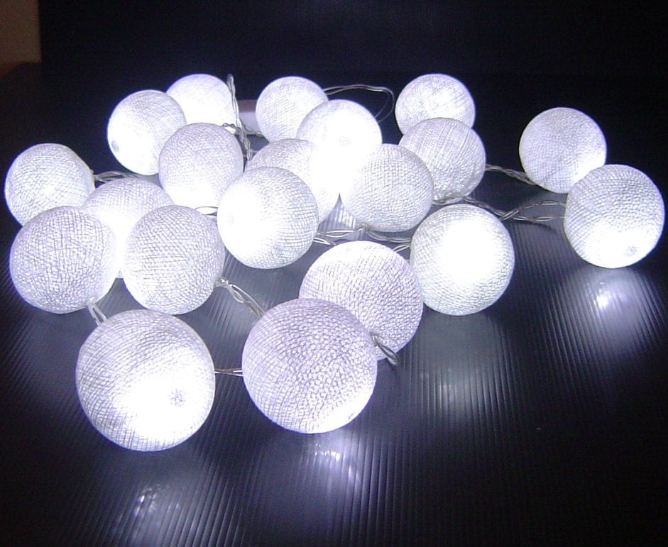 white cotton ball battery operated led fairy lights. Black Bedroom Furniture Sets. Home Design Ideas