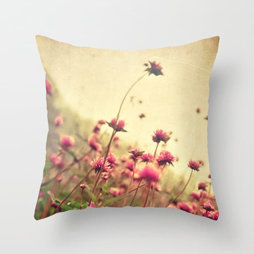 Spring Flower Decorative Pillow Cover Rustic by HappyPillowShop