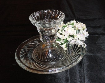 VINTAGE CANDLESTICK Swirled Glass