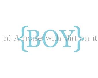 Boy definition vinyl lettering