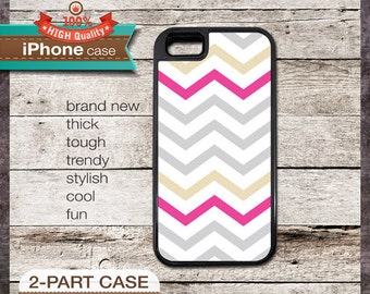 Modern Chevron 17 Greys and Pink Design - iPhone 6, 6+, 5 5S, 5C, 4 4S, Samsung Galaxy S3, S4
