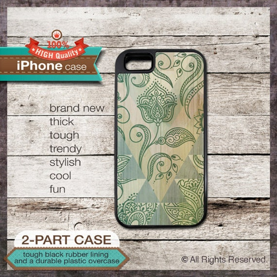 iPhone 6, 6+, 5 5S, 5C, 4 4S, Samsung Galaxy S3, S4 - Floral Art on Wood - Design Cover 83