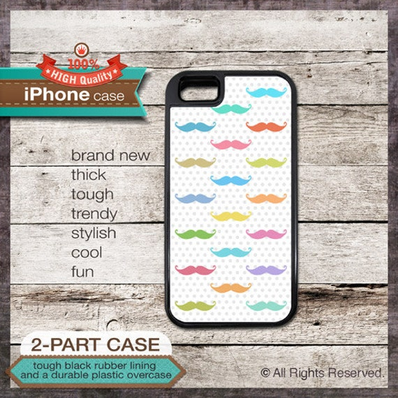 Colorful Mustaches Design - iPhone 6, 6+, 5 5S, 5C, 4 4S, Samsung Galaxy S3, S4