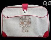 Tweed suitcase with Skull Design on side. -  Día de los Muertos - Day of the Dead