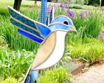 Large stained glass bluebird in 3D, suncatcher window hanging ornament, outdoor decor, garden porch decor, bird garden art, mother's gift