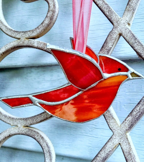 Red Cardinal 3D Stained Glass Bird Window Hanging Ornament