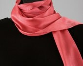 """Silk scarf, also works as a belt, 9 x 72"""", vibrant coral silk charmeuse, long and narrow, versatile"""