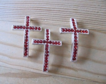 Ruby Red Crystal Sideways Cross Bracelet Connector in Silver Set of 3