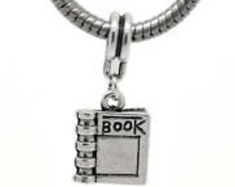 Book charm for european style bracelet