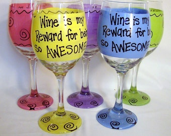 Wine is my Reward for being so AWESOME   Funny Wine Glass Gift Boxed