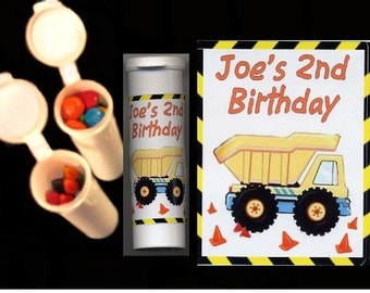 Construction party favors candy/crayon tubes set of 10