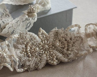 Bridal Garter Set  - bead and pearls (Made to Order)