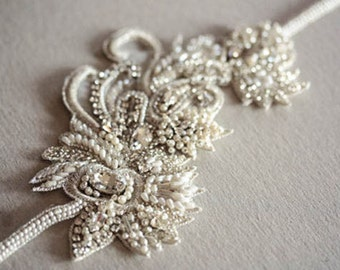 Wedding beaded hairpiece in Ivory - Laine