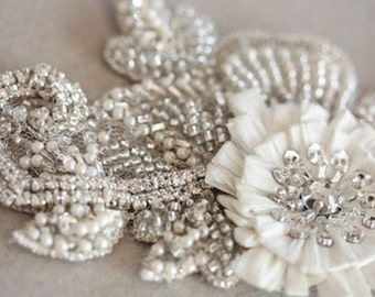 Floral Bridal Sash - Laine 18 inches (Made to Order)