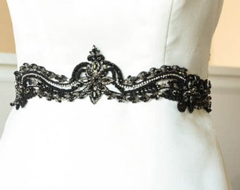 Wedding Sash in black  - Bela 28 to 29 inches