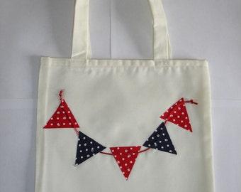 Red & Navy Polka Dot Bunting Tote Bag