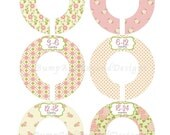 Custom Baby Closet Dividers Girl Pink Green Floral Flowers Closet Dividers Baby Shower Gift Closet Organizers Baby Girl Nursery 002