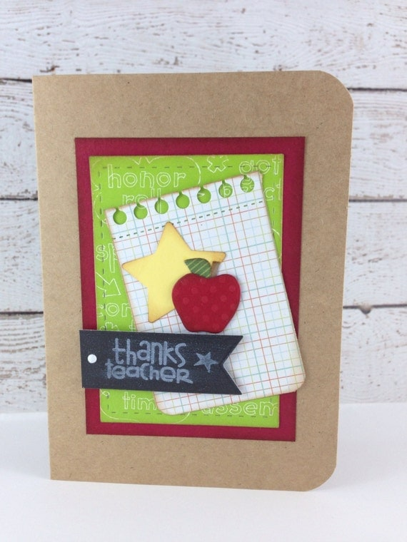Handmade Teacher Greeting Card by DebbiesCutsAndCrafts on Etsy
