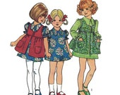 Vintage Simplicity 5277 Girls Dress  and Smock Pattern 1970s