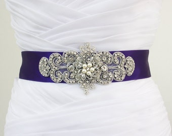 KAREN - Royal Purple Vintage Inspired Wedding Crystal Rhinestone Belt, Bridal Beaded Sash, Bridal Rhinestone Belt