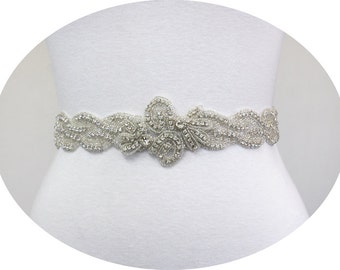LAILA - Crystal Rhinestone Bridal Beaded Sash Belt, Wedding Dress Sash, Bridal Crystal Belts, Wedding Accessories