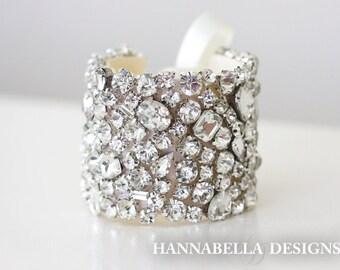 DIVINA - Crystals Rhinestones Bridal Bracelet, Rhinestone Bridal Bracelet, Wedding Cuff, Rhinestone Bridal Cuff