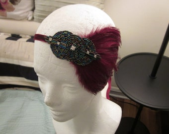 Great Gatsby Feather Headband, Pick your colors, Roaring Twenties Headband Fascinator Serre Tete Mariage Wedding