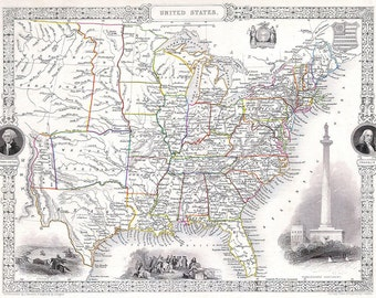 """National Map of United States - Old Vintage US Map Print 07 - 24"""" x 19"""""""