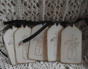 Handmade Wild Flowers in Glass Jar Gift Tags