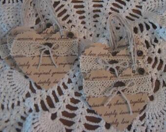 Handmade Vintage Heart Shape Gift Tags, Journal Tags, Scrapbook