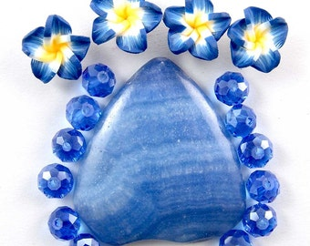 Blue Banded Agate gemstone Pendant,blue fimo Flowers,blue glass crystal beads set E1086