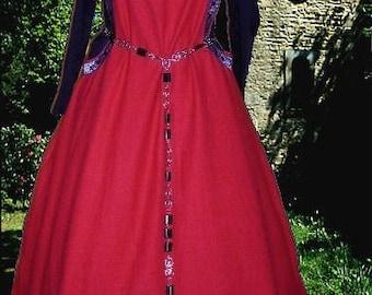 FREE SHIP SCA Garb Medieval Gown Renaissance Costume BloodRed 2pc SdlessSurcoteKirtle lxl