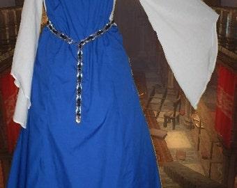 FREE SHIP Renaissance Costume Medieval Gown SCA Garb BlueWht Sideless Surcote 2 pc Set lxl