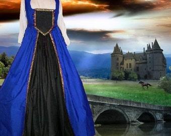 FREE SHIP Medieval Renaissance Costume SCA Garb Tudor Full Skirt BiLace Bodice 2pc Cotton lxl
