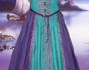 FREE SHIP Medieval Gown SCA Garb Renaissance Costume Purple and Teal Front Lacing Ensemble lxl
