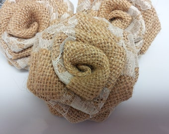 Burlap and Lace Flowers, Burlap Flowers with Lace, Burlap Flowers, Burlap Roses,  Burlap with lace, Natural burlap - Rustic wedding decor