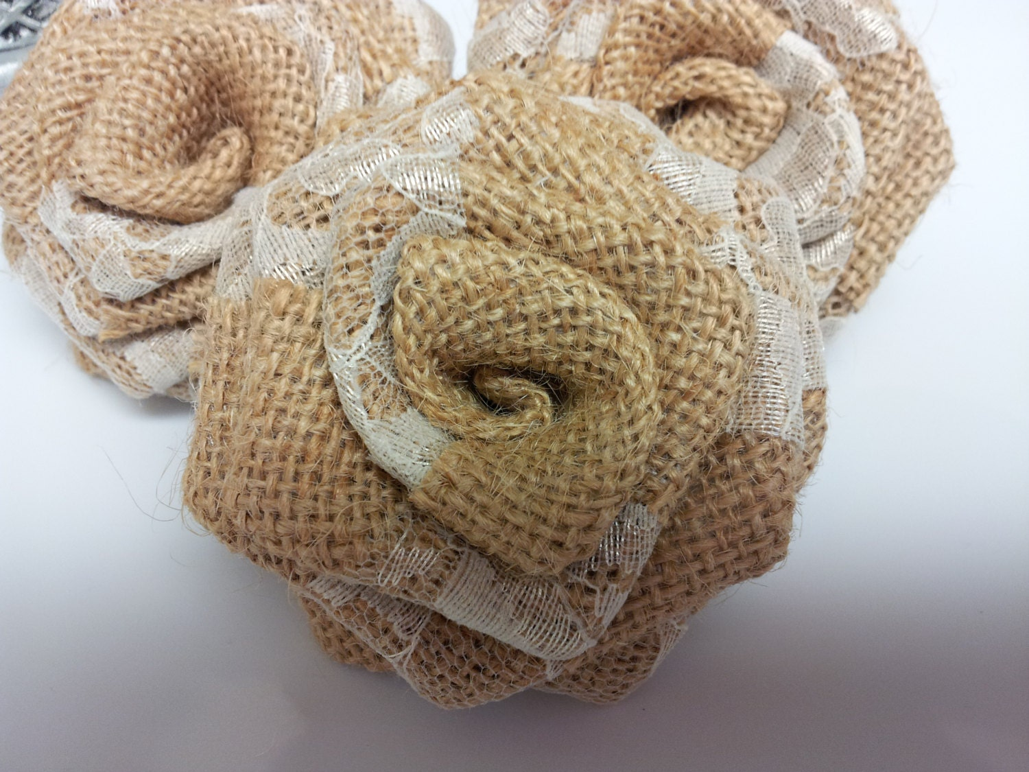 Burlap and Lace Flowers Burlap Flowers with Lace Burlap