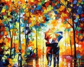 "Art Painting — Under One Umbrella  — PALETTE KNIFE Oil Painting On Canvas By Leonid Afremov - Size: 30"" x 36"" (75 cm x 90 cm)"
