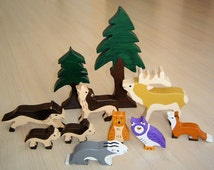pdf patterns / tutorial for 10 different wooden animals in Waldorf style, DIY - conifer, wolf, stag, badger, marten, owl