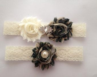Wedding Garter, CAMO GARTER, Bridal Garter, Camo Bride, Bride Garter Set,  Also Available in White Lace / Camo Bride / Fast Shipping