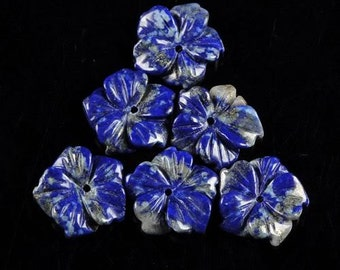 g0975 Six pcs of 15mm carved lapis flower gemstone loose beads