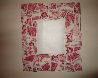 Vintage Toile look china mosaic mirror    PRICE REDUCTION