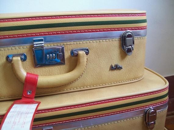 Vintage leather luggage Ventura Air Nita 3 piece set excellent