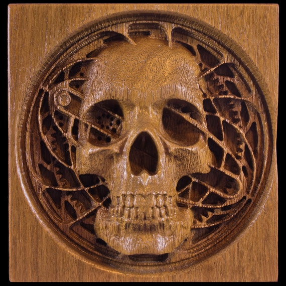 cnc carved wooden skull and gears steampunk for desktop