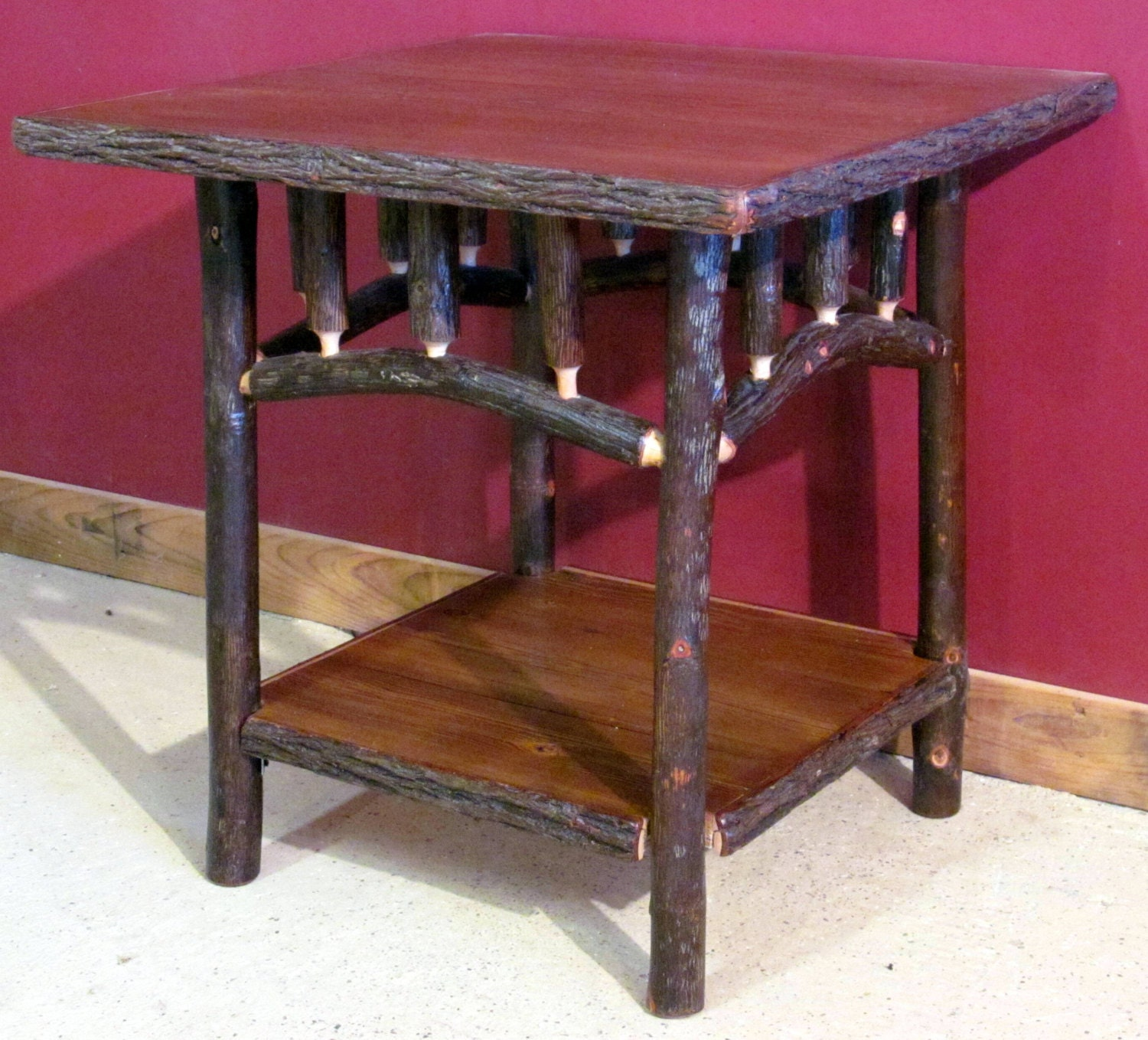Log Side Table ~ Hickory log side table square old fashioned