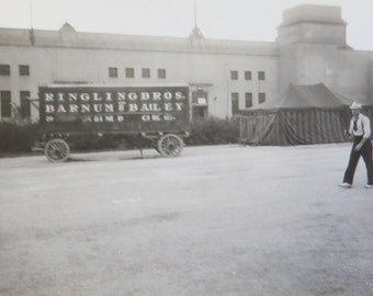 Vintage 1940's Ringling Bros., Barnum & Bailey Circus Wagon Snapshot Photograph - Free Shipping