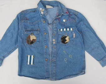 Vintage embellished Customized Denim Shirt age 5 years Applique Embroidery