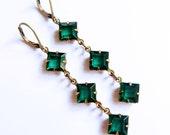 Emerald Art Deco Estate Style Vintage Swarovski Trio of Diamond Rhinestones Drop Earrings - Bridal - Bridesmaid - Wedding