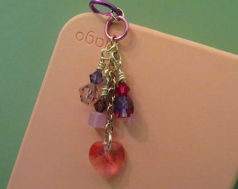 Pink and Purple Hearts cell phone charm, dust plug charm