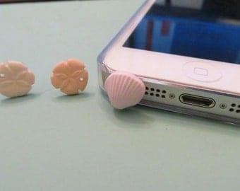 Choose your color-- Seashore cell phone charm, dust plug charm